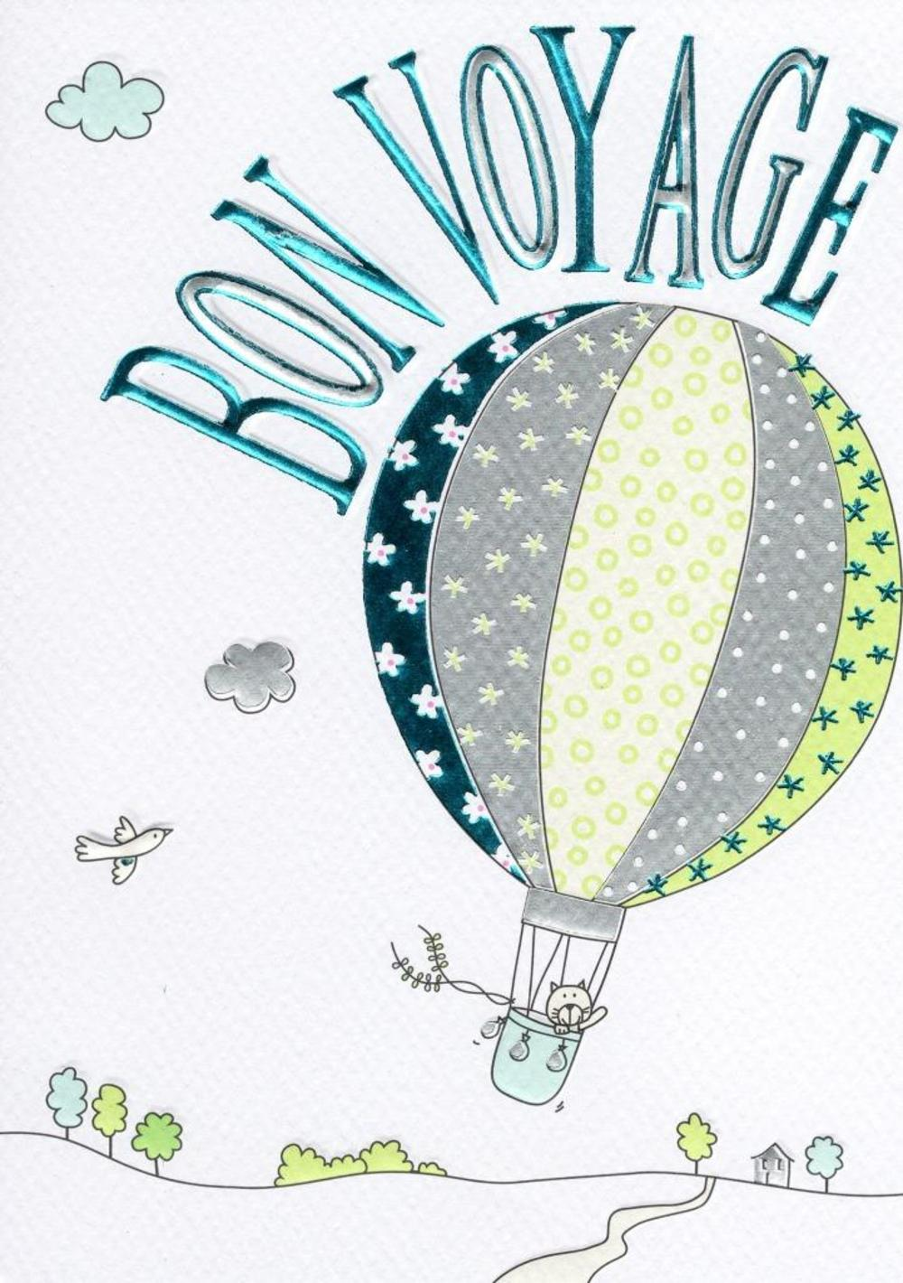 Bon Voyage Lovely Foiled Greeting Card Cards