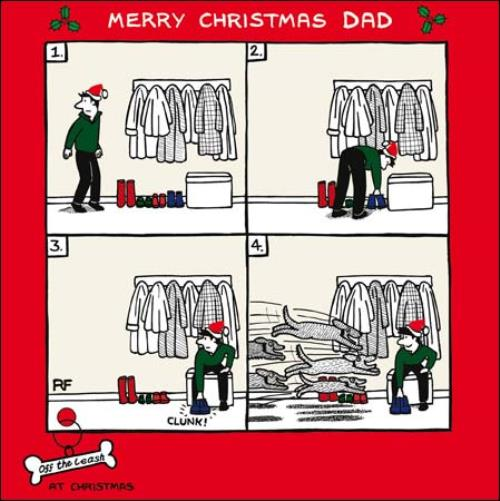 Merry Christmas Dad Funny Dog Off The Leash Cartoon Dog
