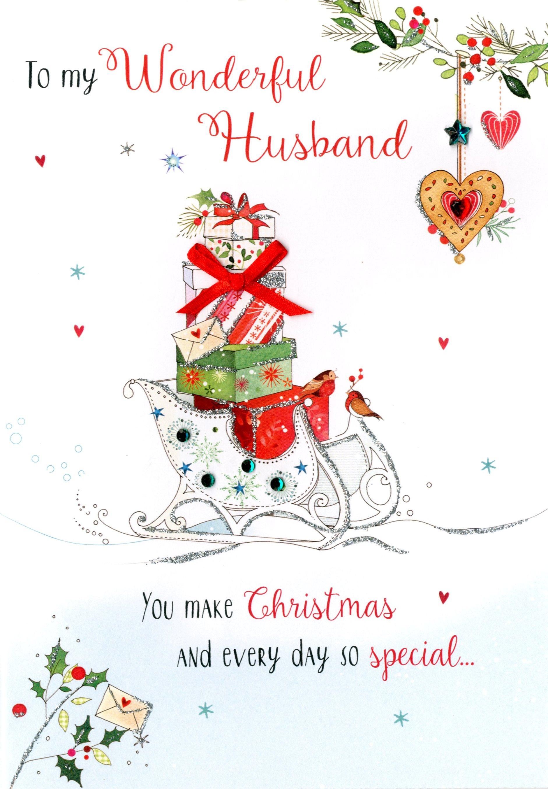 Wonderful Husband Embellished Christmas Card