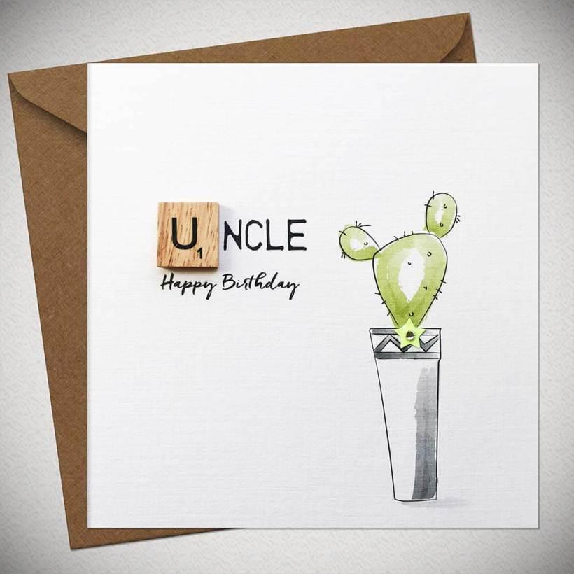 Uncle Birthday Bexyboo Scrabbley Neon Card Handmade