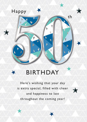 Male Happy 50th Birthday Greeting Card Cards