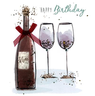 Wine Glasses Happy Birthday Hand Finished Greeting Card Cards