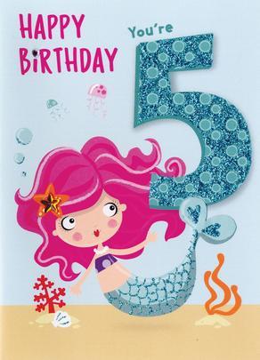 Mermaid Birthday Girls 5th Birthday Greeting Card Cards
