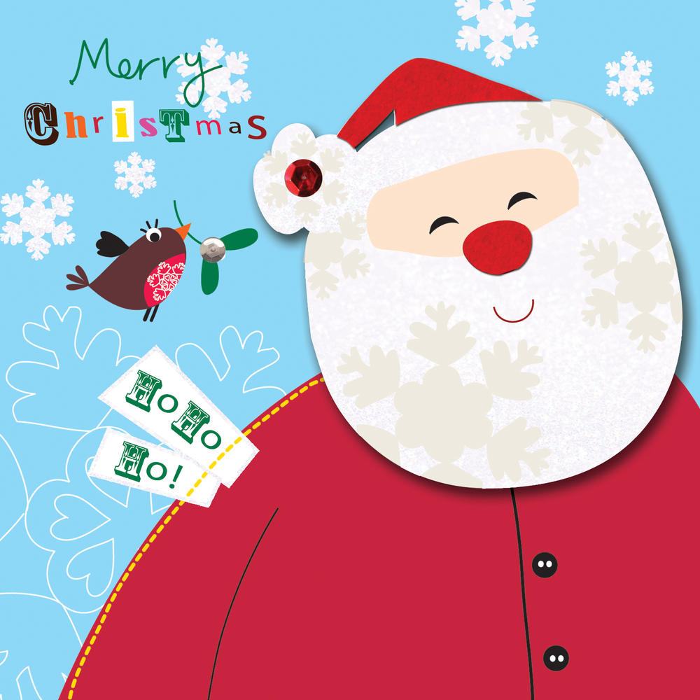 Box Of 5 Father Christmas Cards Hand Finished Cards