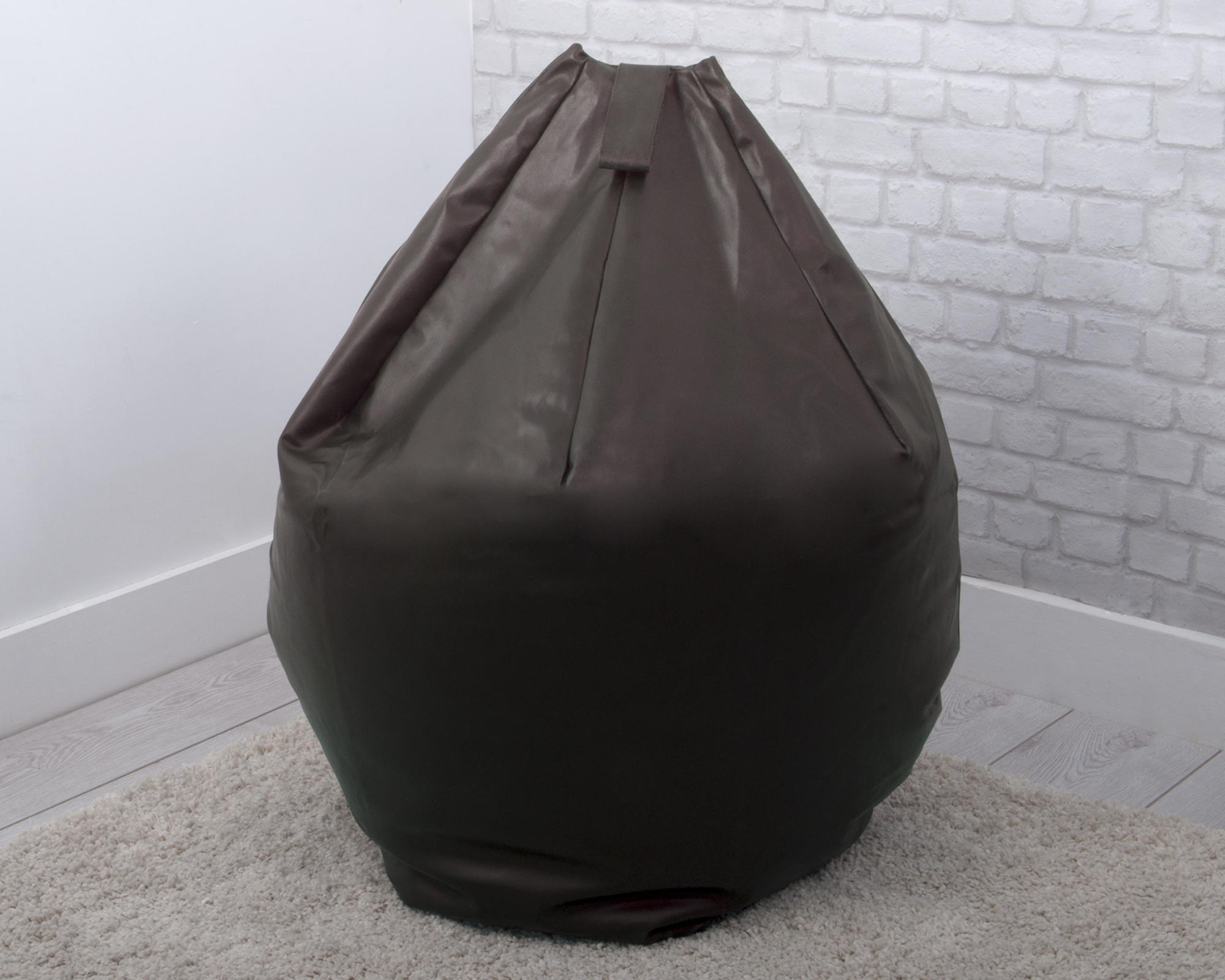 large faux leather bean bag in chocolate brown