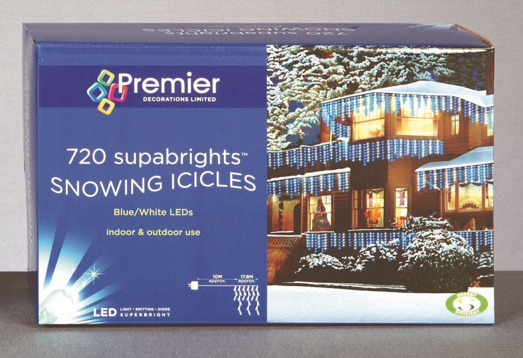 Premier Snowing Icicles 720 LED Blue & White – LV081173BW