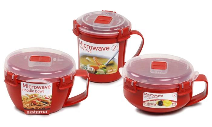 details about sistema microwave soup mug noodle or porridge bowl red bpa free plastic