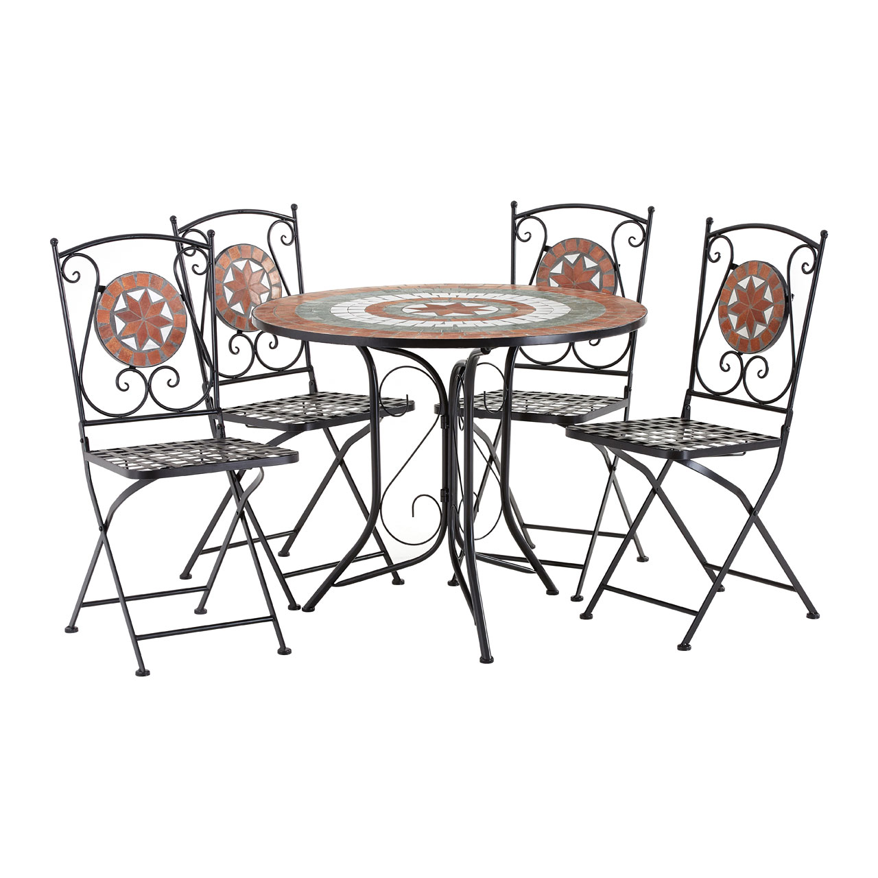Amalfi Table Set Table 4 Folding Chairs Terracotta Mosaic