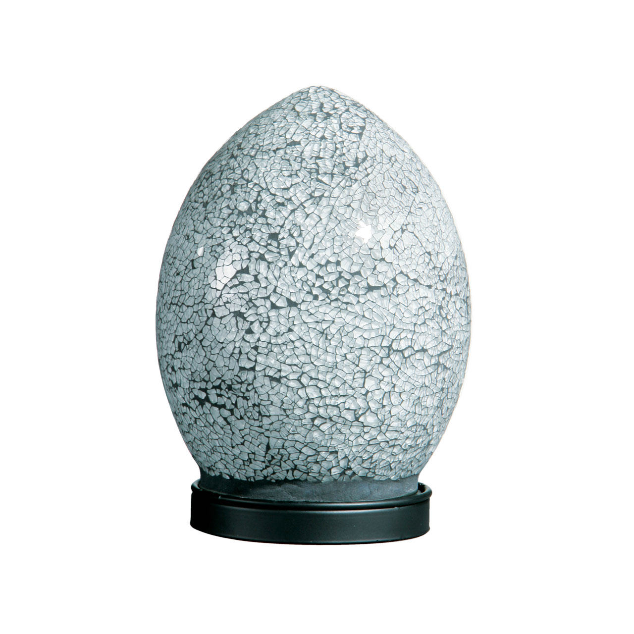 Mosaic White Crackle Glass Small Egg Bedside Table Lamp