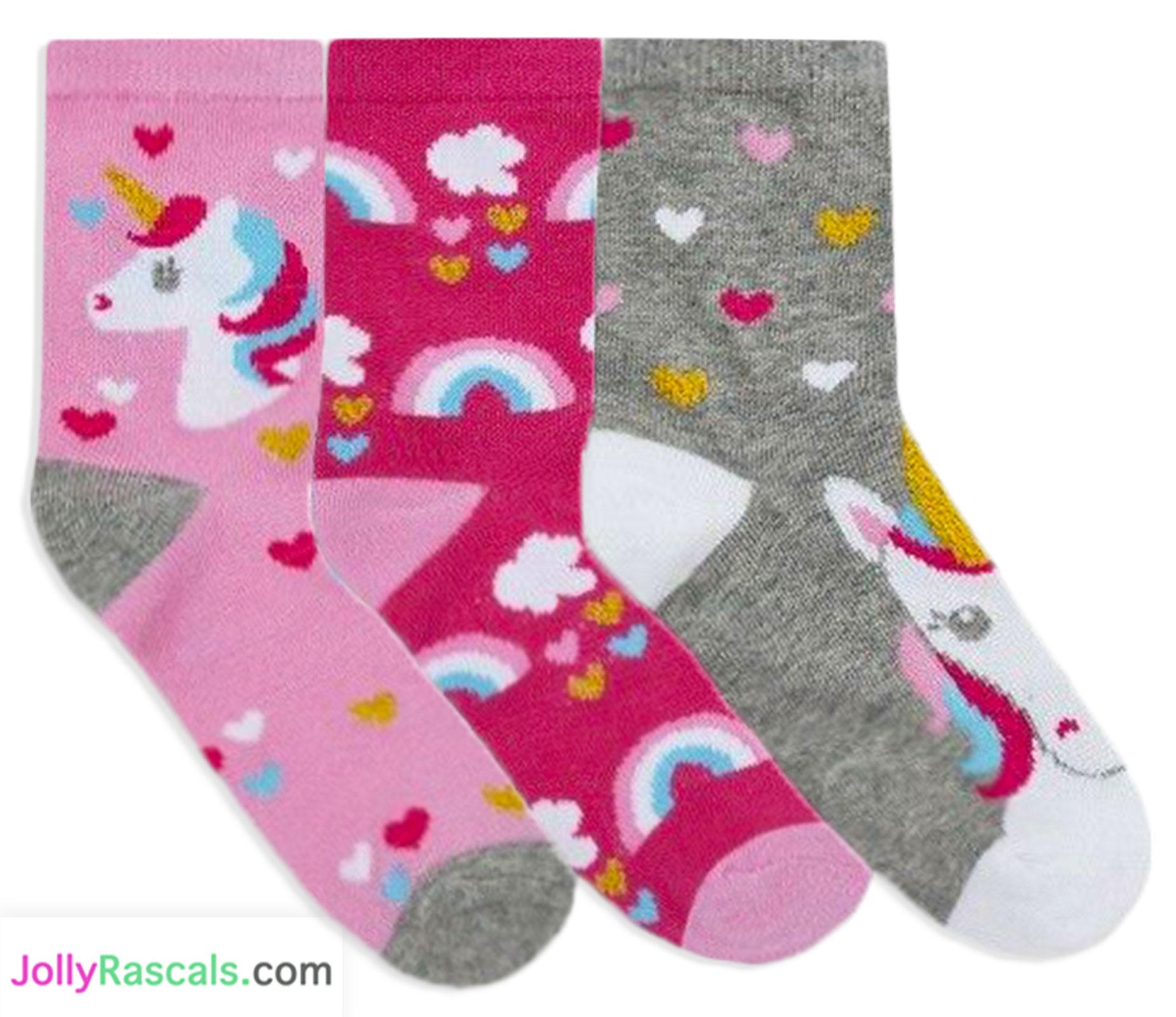 Girls Unicorn Socks 3 Pairs Kids Ankle Socks Cotton Rich