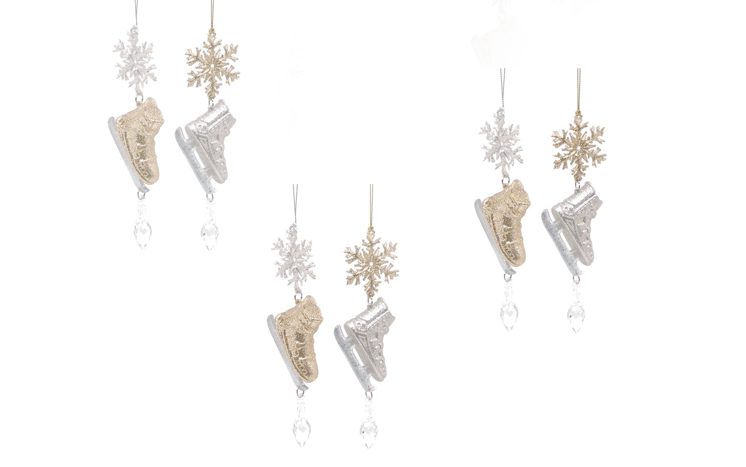 6 X Large Ice Skate Skaing Boots Hanging Baubles Christmas Tree Decorations