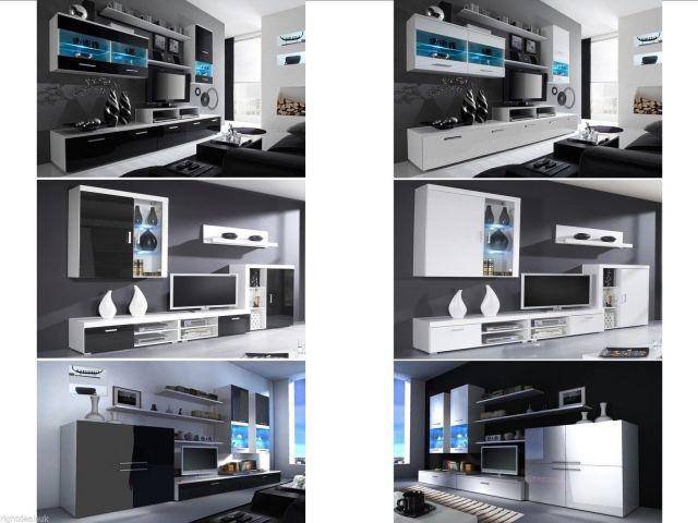 High Gloss Designer Living Room Sets - Floating Units with ...