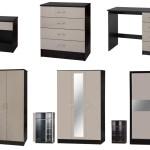 Alpha Grey Gloss Black Bedroom Furniture Bedside Drawers Wardrobes Sets Ebay
