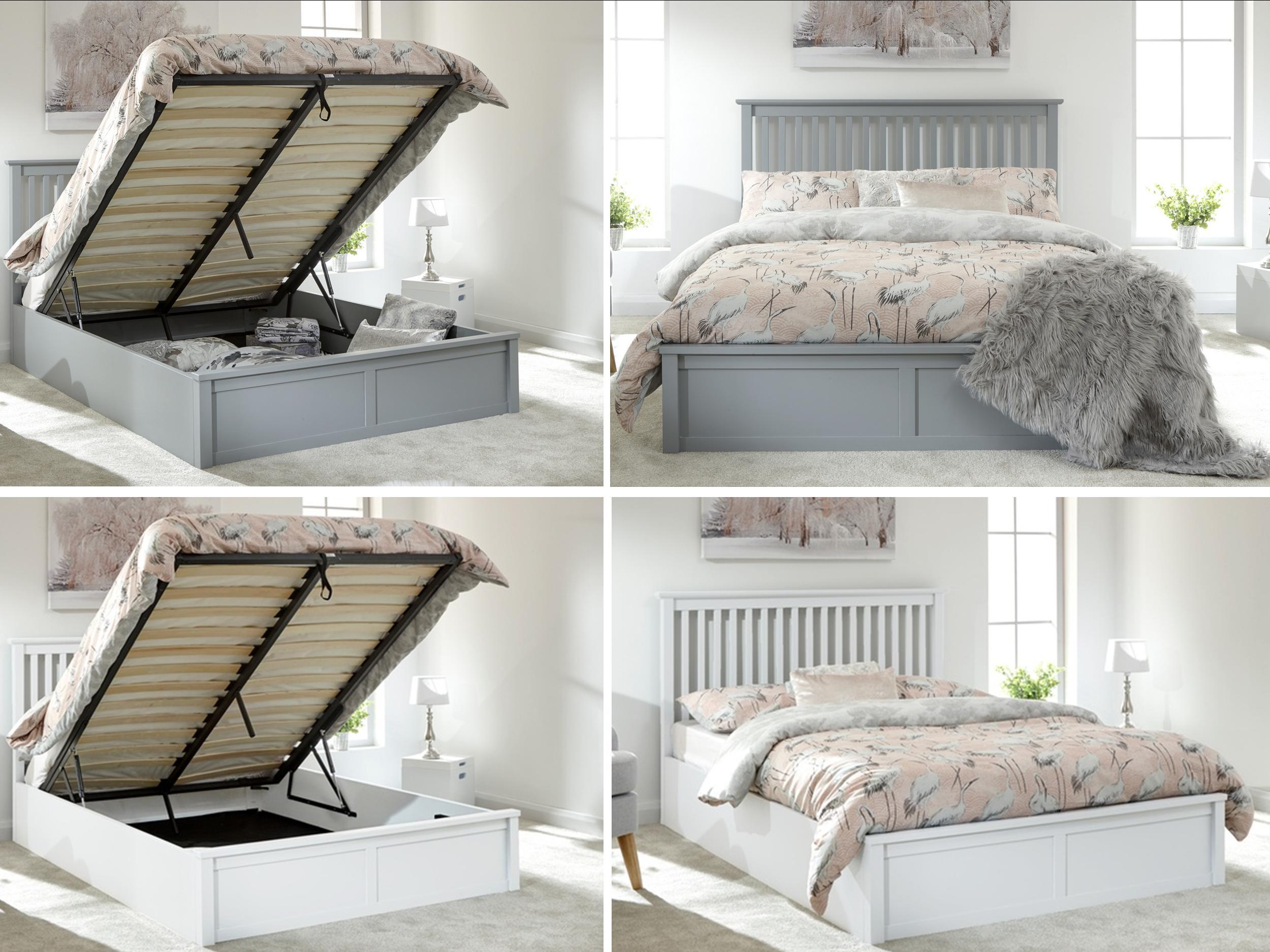 Como Wooden Ottoman Lift Up Storage Bed Grey Or White Single Double Kingsize Ebay