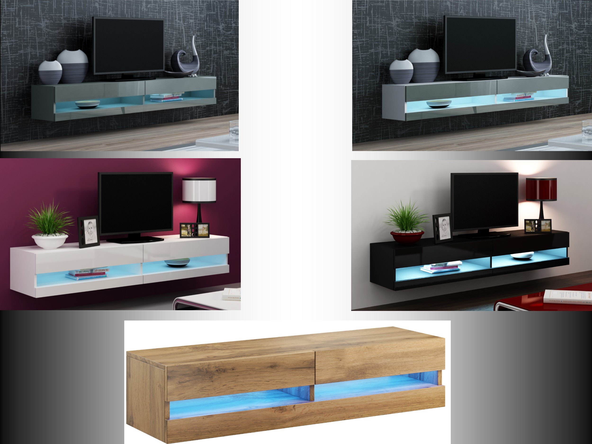 High Gloss Tv Cabinet With Led Lights Floating Wall Mounted Tv Stand 140cm Ebay