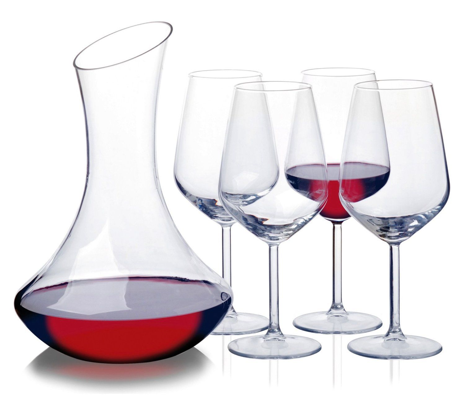 5 Piece Wine Whiskey Liqueur Drink Decanter Carafe Glasses