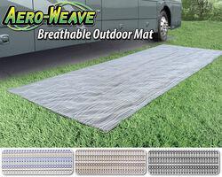 prest o fit aero weave rv outdoor rug w storage bag 7 1 2 x 20 blue