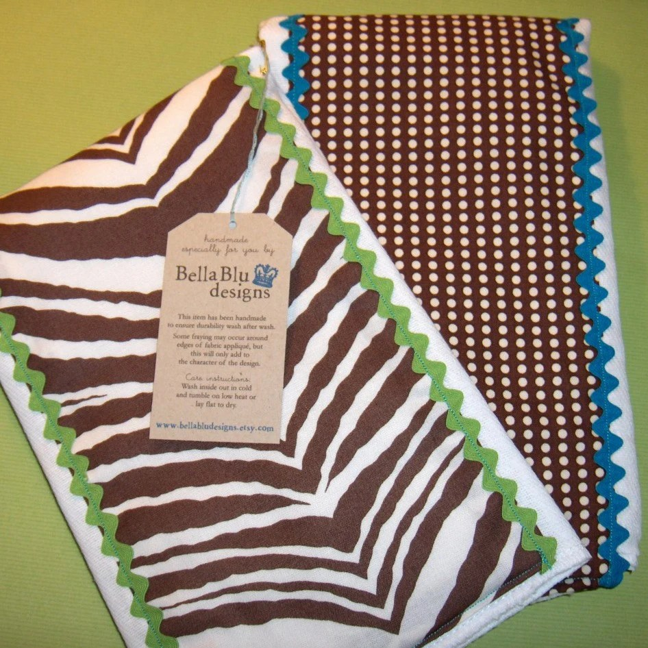 Burp cloth or changing pad set in chocolate zebra and polka dot