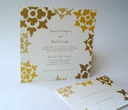 Autumn Floral Square Wedding Invitations Set of 50