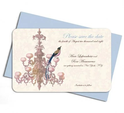 Chandelier and blue eyed bird - save the date - set of 20 cards and envelopes