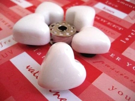 White Glass Heart Magnet - Set/Lot of 5