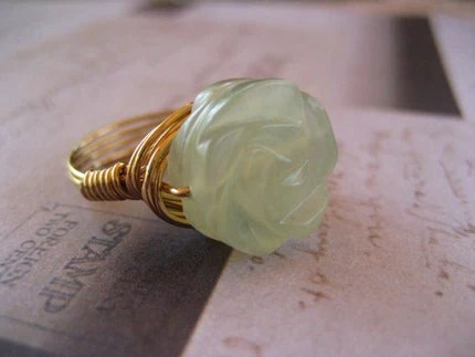 RESERVED for Cris- Carved Jade Rose Ring