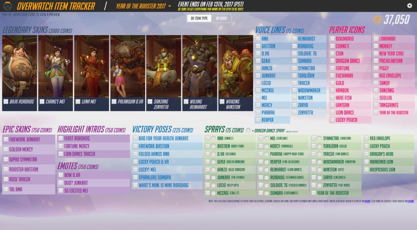 Year Of The Rooster Item Tracker Overwatch Metabomb