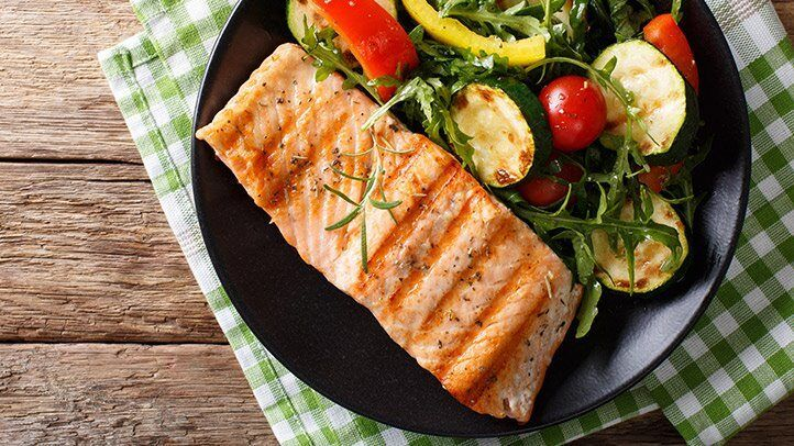 a plate of salmon, which can be a good food for people with depression