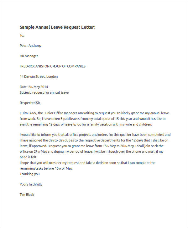 Application Letter For Annual Leave