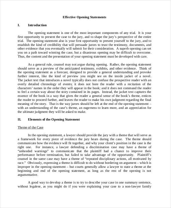 Free 7 Opening Statement Examples Samples In Pdf Doc