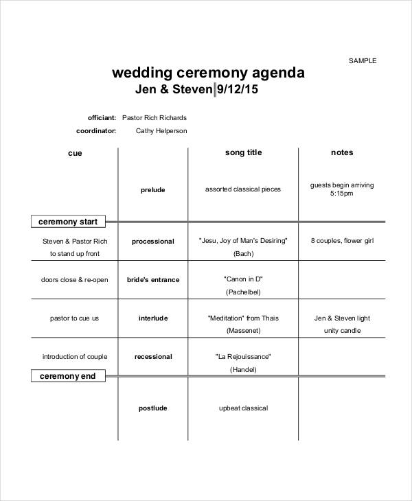 Free 6 Ceremony Agenda Examples Samples In Pdf Examples