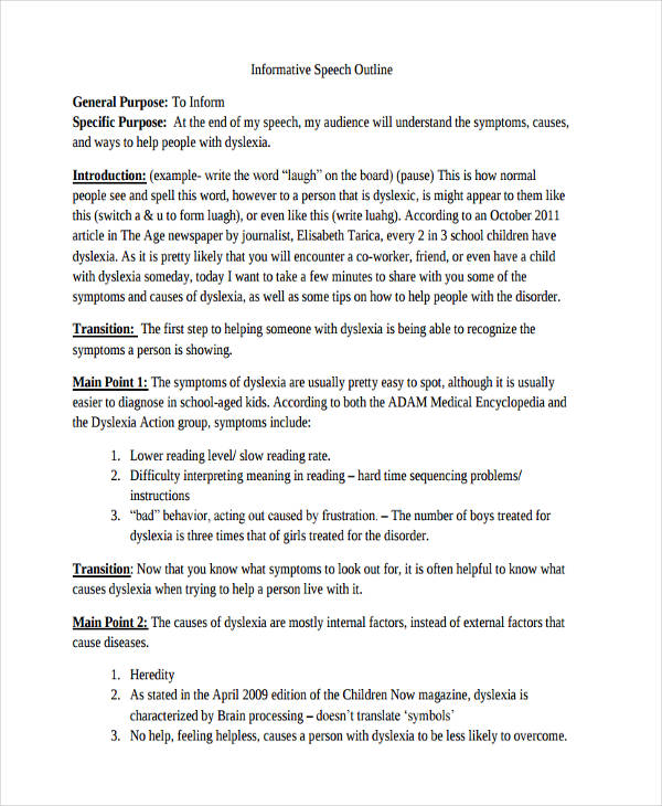 Formal Topic Outline Example