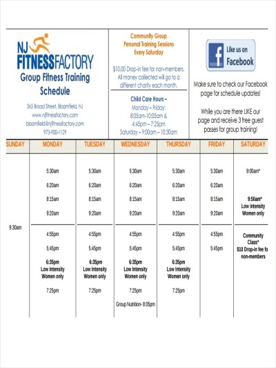 9+ Examples of Fitness Schedules | Examples