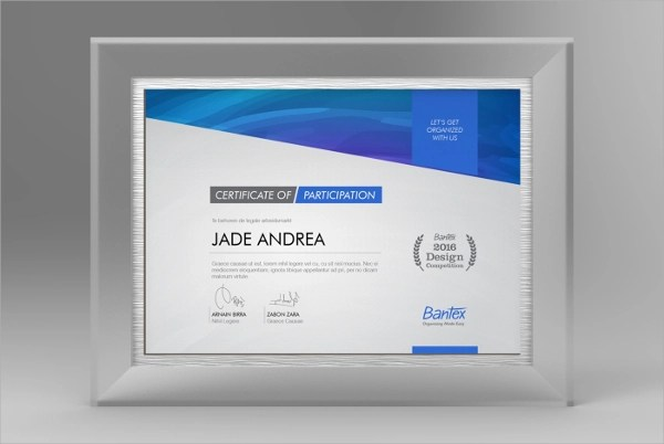 9  Participation Certificates Examples   Samples Participation Gift Certificate