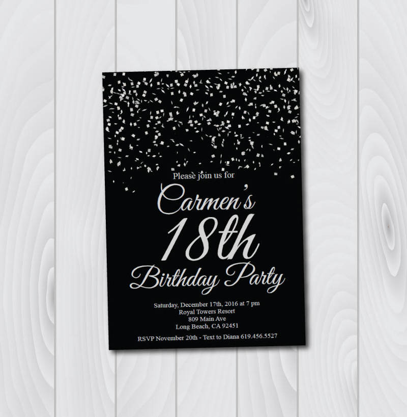18th birthday invitation designs
