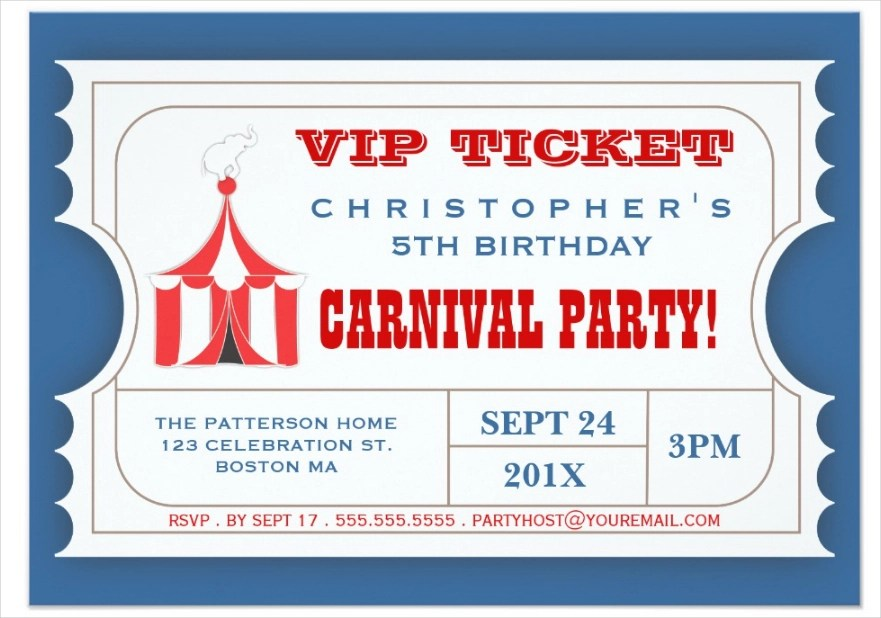 carnival party invitation designs