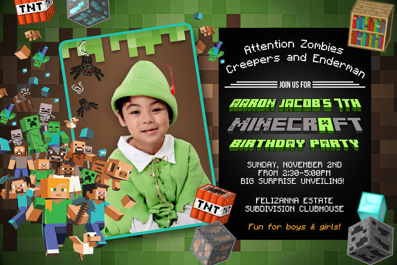 minecraft birthday invitation designs
