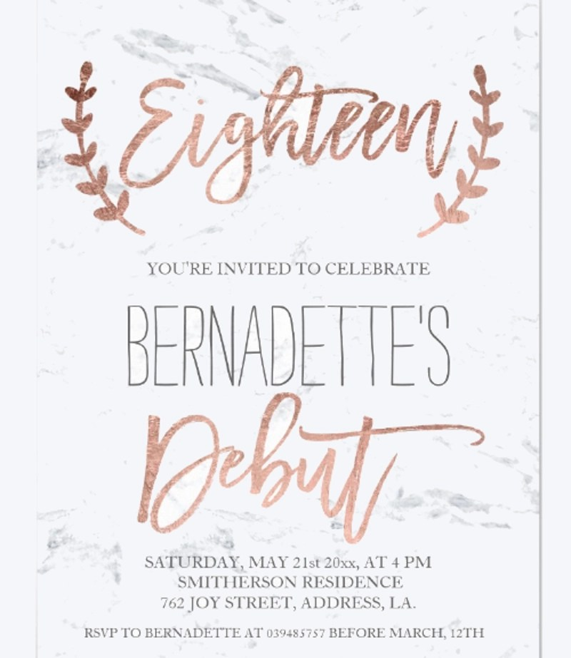 debut invitation designs examples in