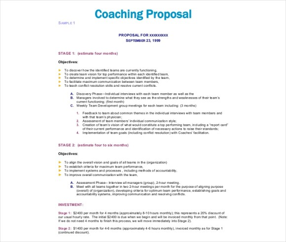 10+ Coaching Proposal Examples & Samples in PDF | Examples