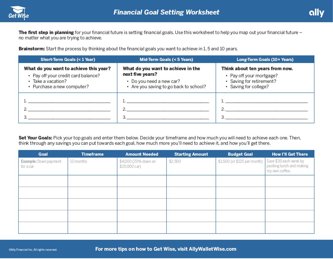 16 Goal Setting Worksheets
