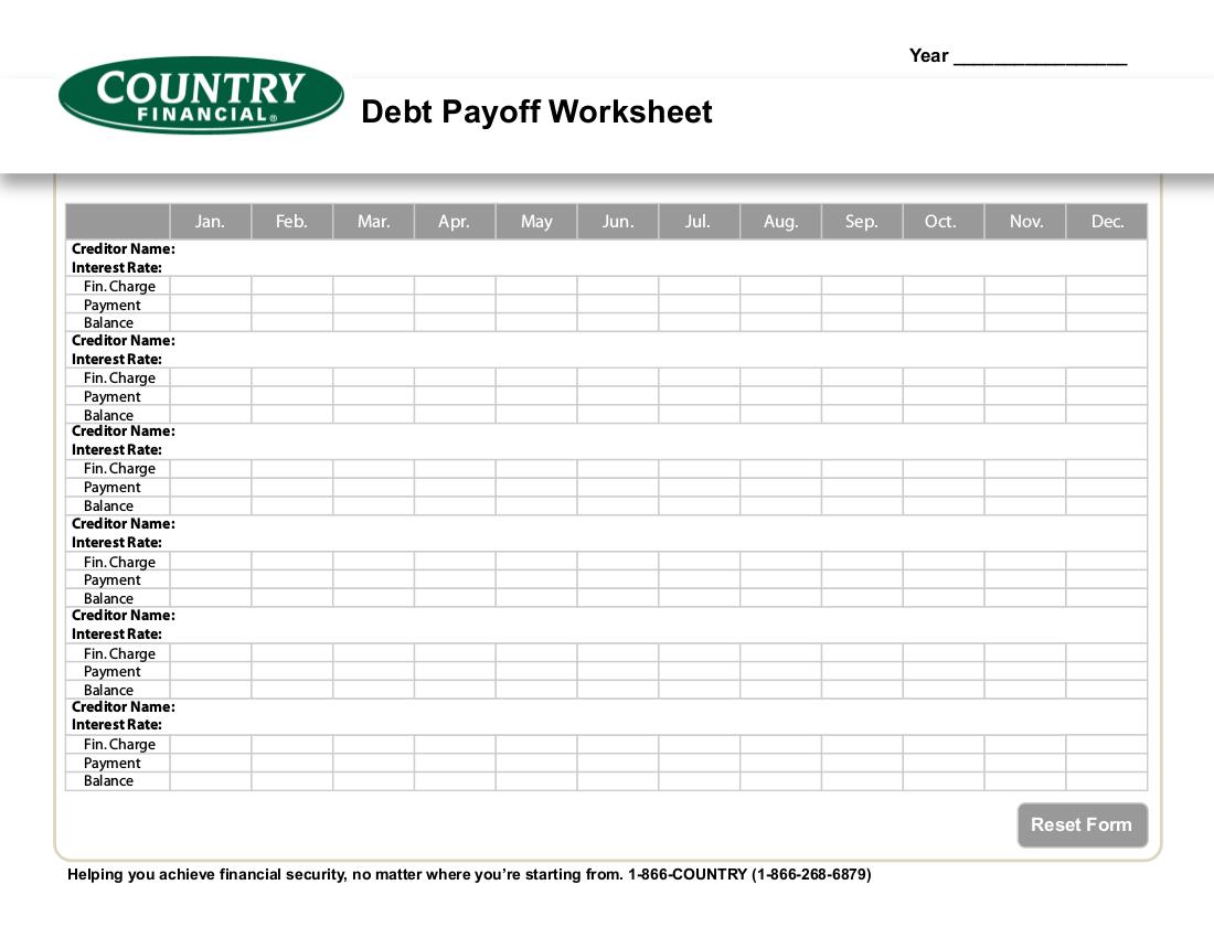 9 Debt Worksheet Examples In
