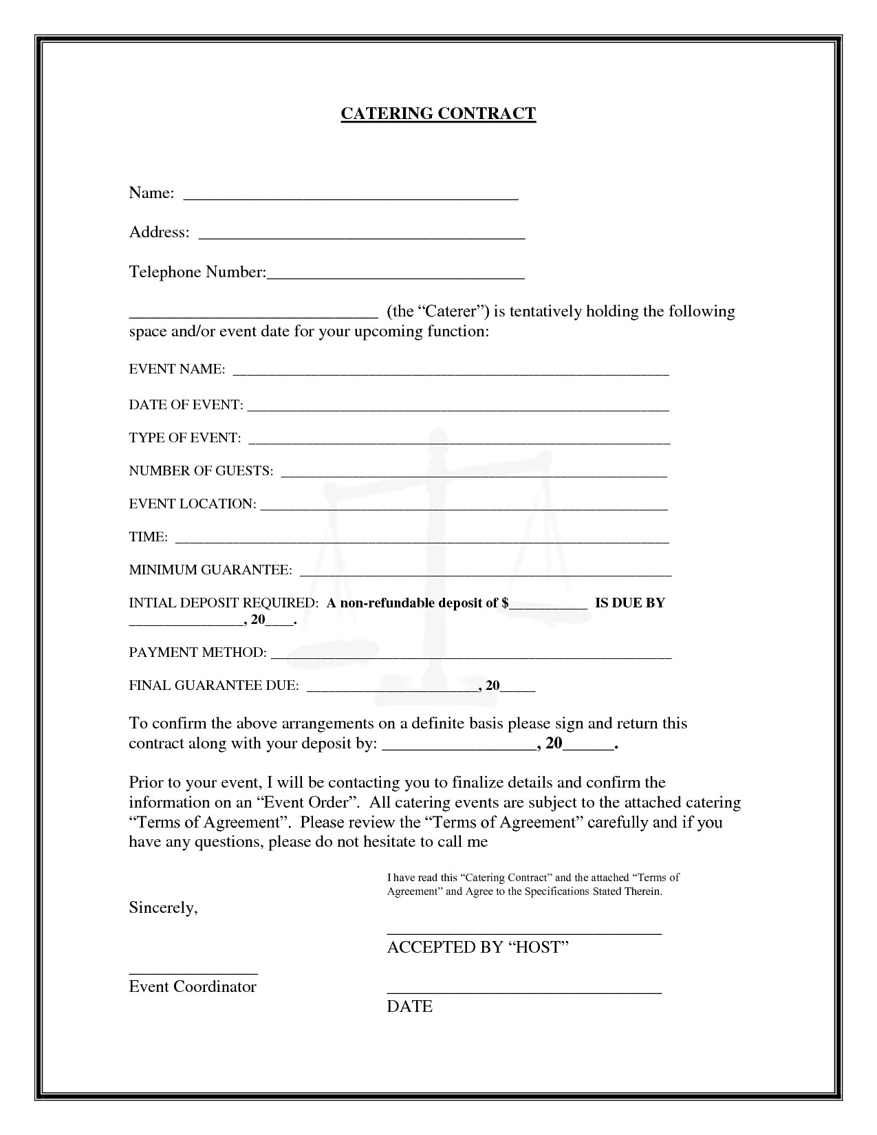 Catering Contract Example