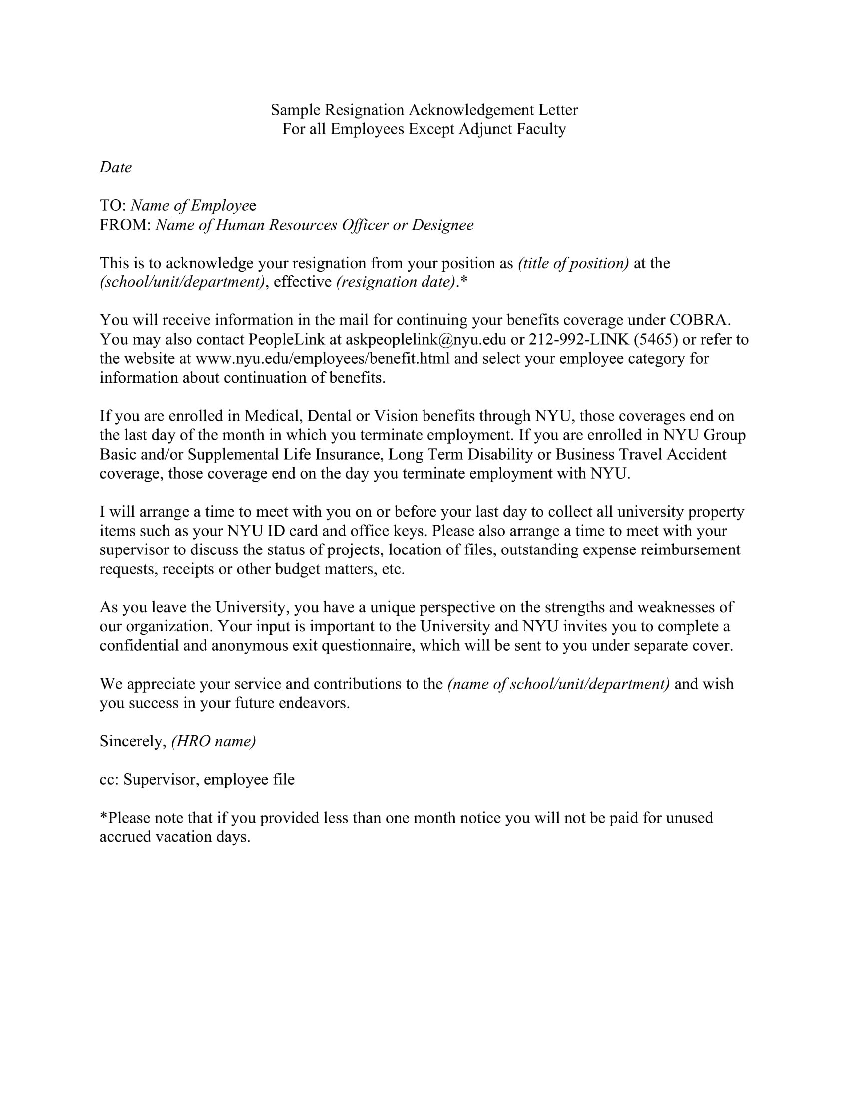 Acknowledgement Of Resignation Letter Examples