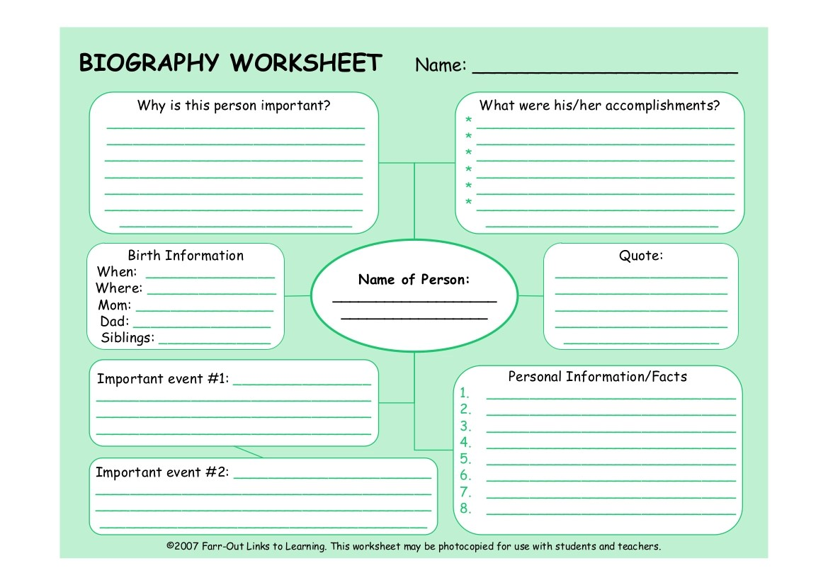 8 Biography Worksheet Examples