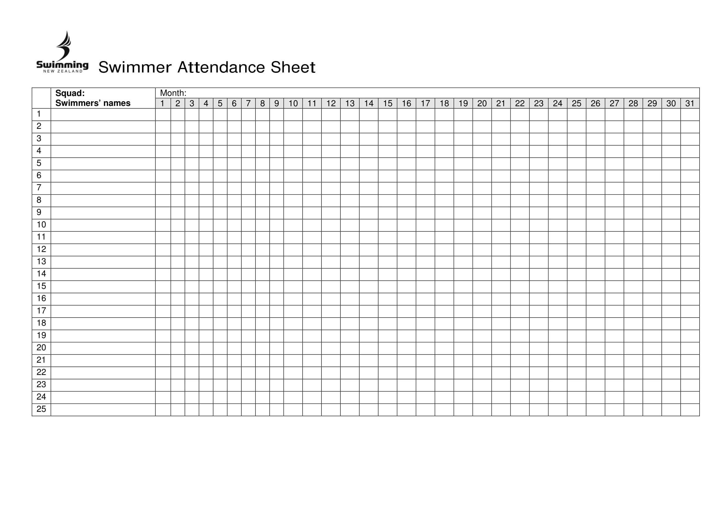 14 Printable Attendance Sheet Examples