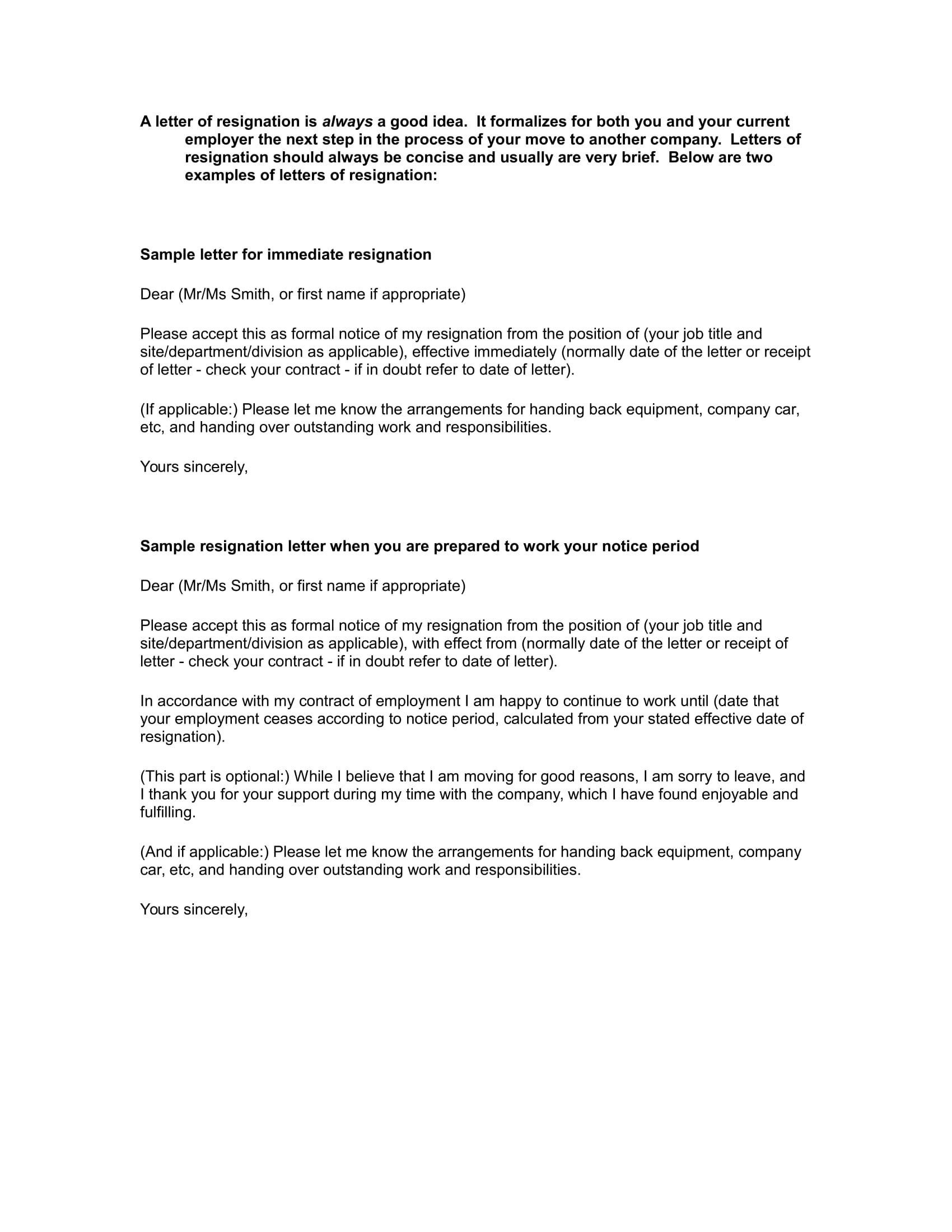 Simple Resignation Letter Ex Le