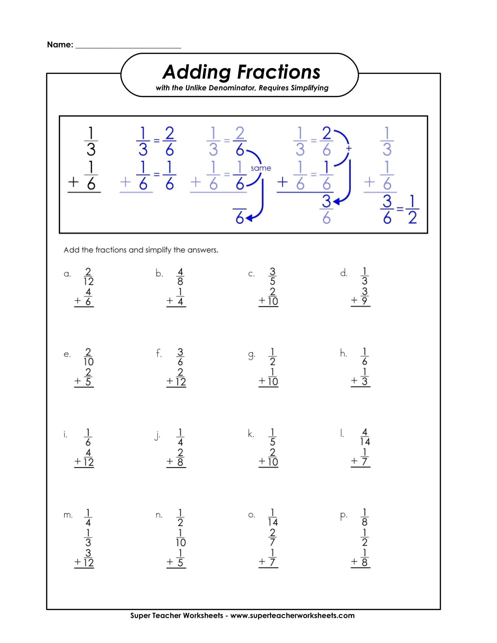 Adding Fractions Sample Worksheet