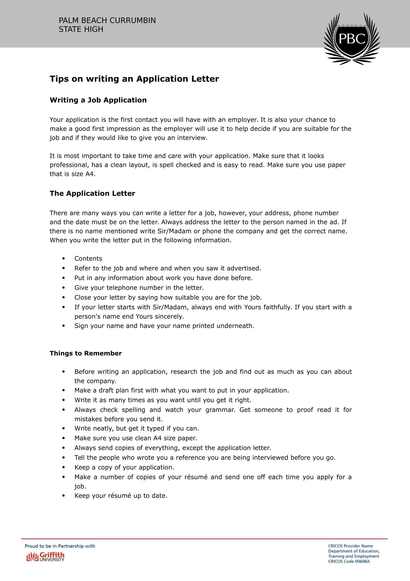 Application Letter Tips 1