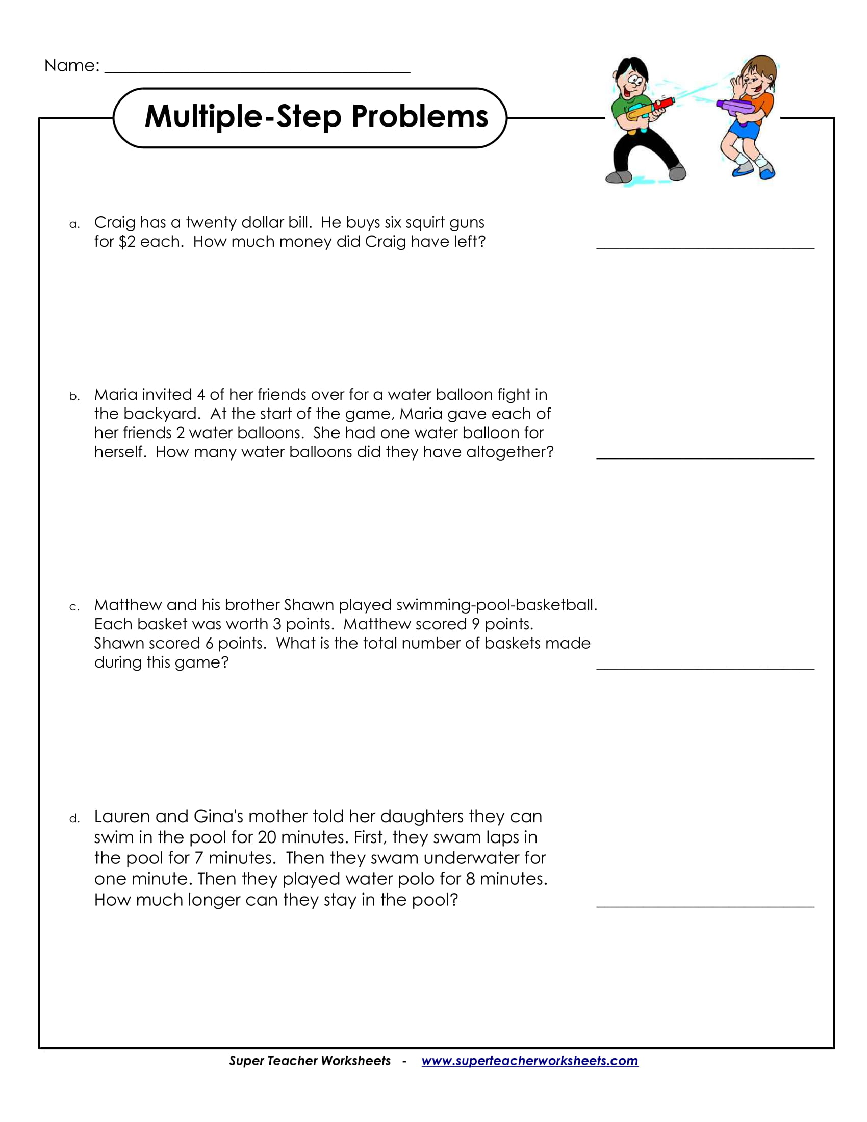 Multiple Step Problem Sample Worksheet