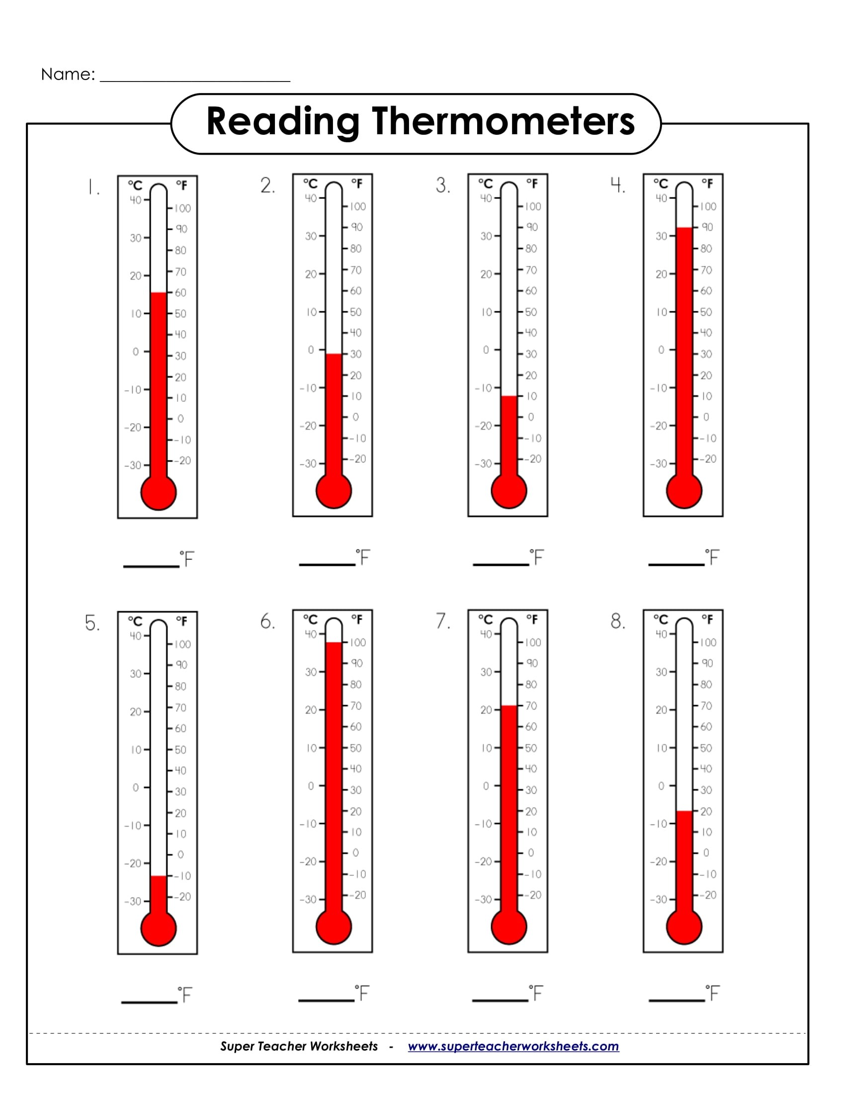 Reading Thermometers Sample Worksheet